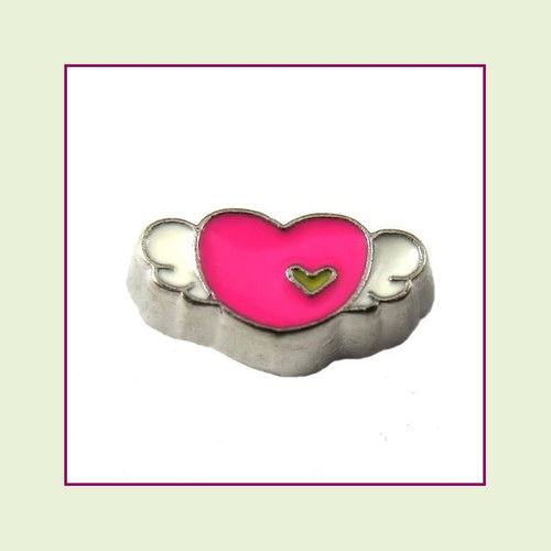 Pink Heart White Wings (Silver Base) Floating Charm