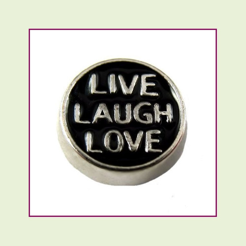 Live Laugh Love on Black Round (Silver Base) Floating Charm