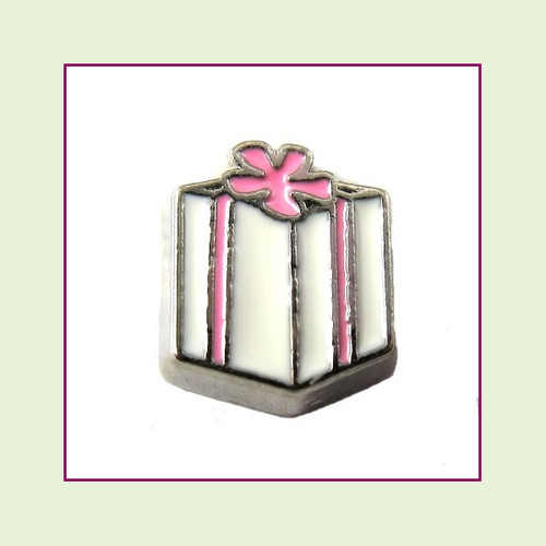 Package White with Pink Bow (Silver Base) Floating Charm