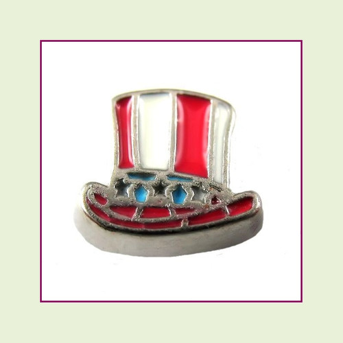 Uncle Sam Hat (Silver Base) Floating Charm