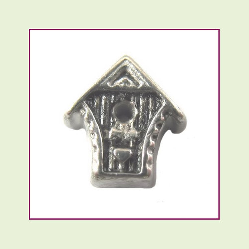 Bird House Silver Floating Charm