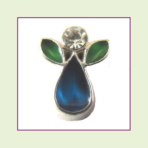 Angel Teardrop Blue (Silver Base) Floating Charm