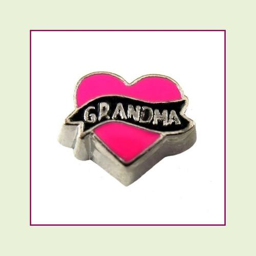 Grandma Pink Heart (Silver Base) Floating Charm