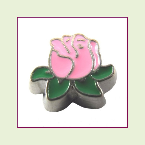 Rose Pink with Leaves (Silver Base) Floating Charm