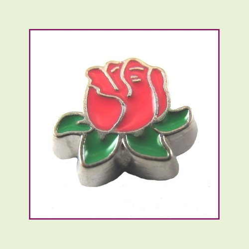 Rose Red with Leaves (Silver Base) Floating Charm