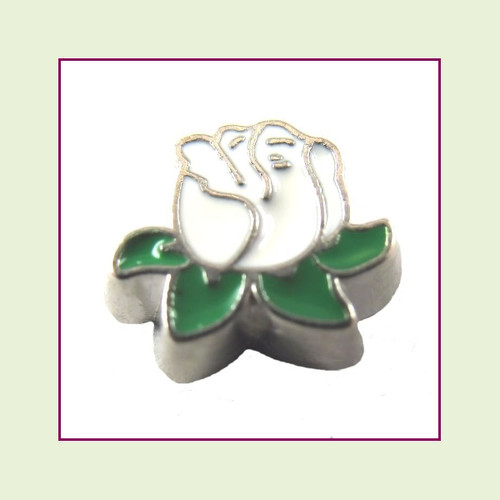 Rose White with Leaves (Silver Base) Floating Charm
