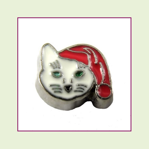 Christmas Cat (Silver Base) Floating Charm