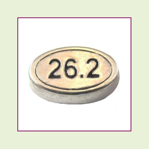 Marathon 26.2 Oval (Silver Base) Floating Charm
