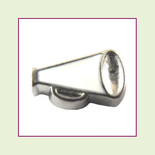 Megaphone White (Silver Base) Floating Charm