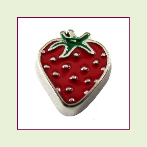 Strawberry (Silver Base) Floating Charm