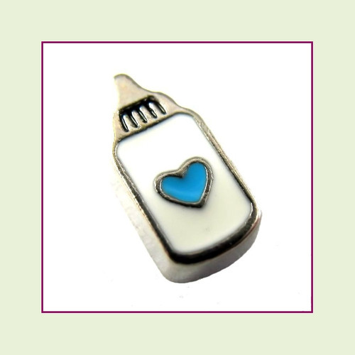 Baby Bottle with Blue Heart (Silver Base) Floating Charm