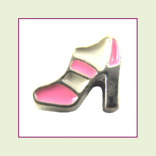 Shoe Pink/White High Heel (Silver Base) Floating Charm