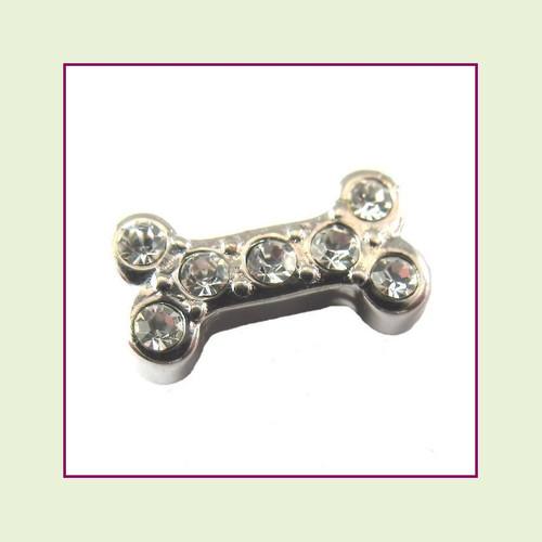 Dog Bone Silver CZ Floating Charm