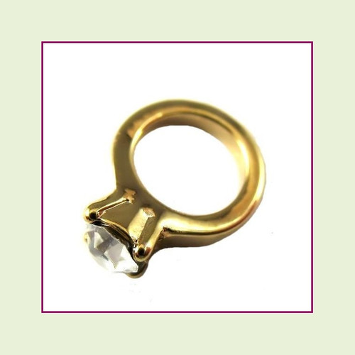 Wedding Ring Gold with Crystal Floating Charm