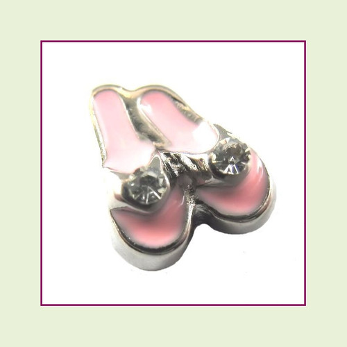 Flip Flops Light Pink with CZ Stones (Silver Base) Floating Charm