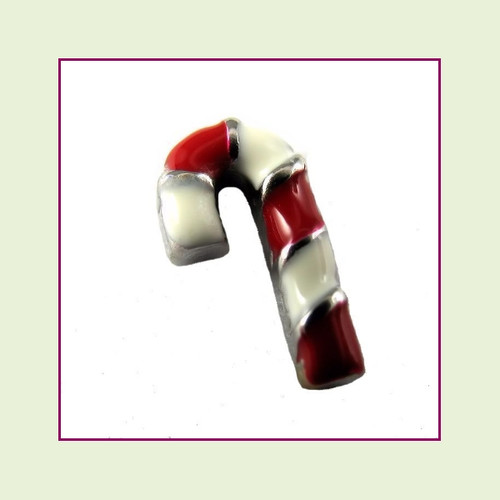 Candy Cane Red and White (Silver Base) Floating Charm