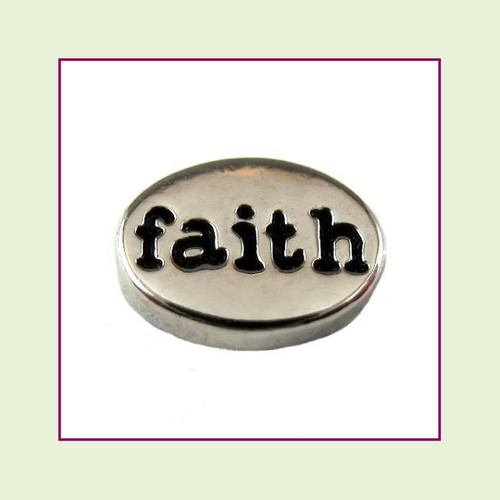 Faith on Silver Oval Floating Charm