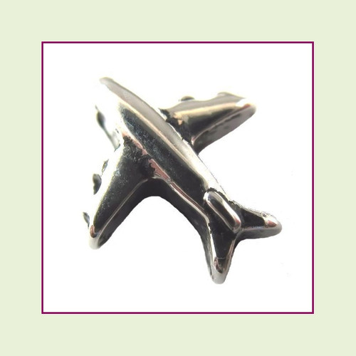 Silver Airplane Floating Charm