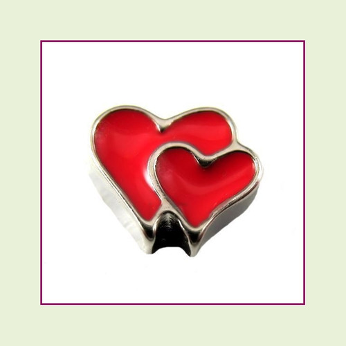 Heart Double Red (Silver Base) Floating Charm