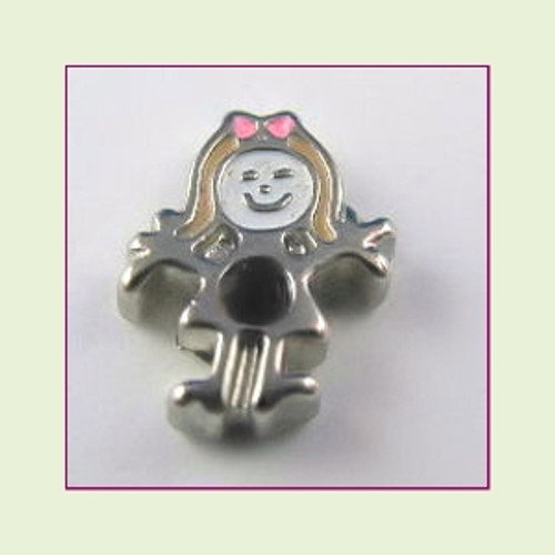 BS-01 January Silver Girl Birthstone Floating Charm