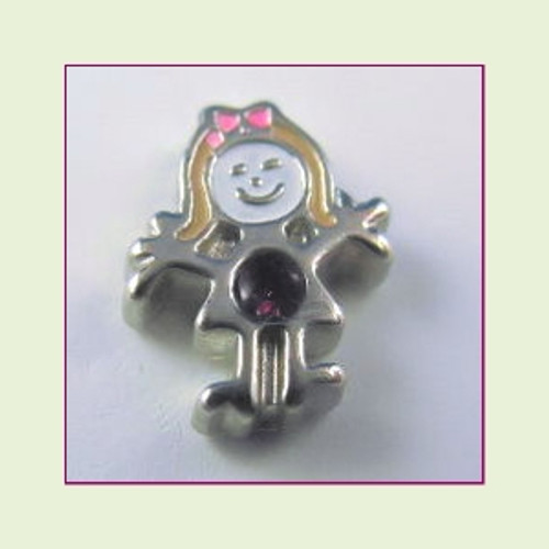 BS-02 February Silver Girl Birthstone Floating Charm