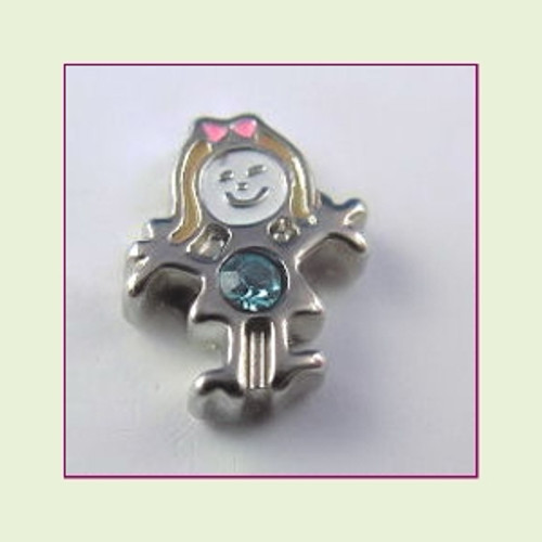 BS-03 March Silver Girl Birthstone Floating Charm