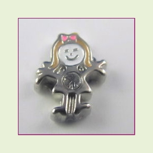 BS-04 April Silver Girl Birthstone Floating Charm
