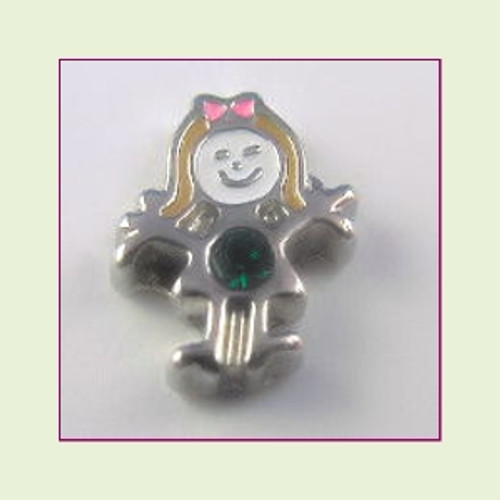BS-05 May Silver Girl Birthstone Floating Charm