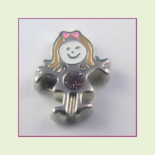 BS-06 June Silver Girl Birthstone Floating Charm