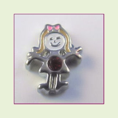 BS-07 July Silver Girl Birthstone Floating Charm