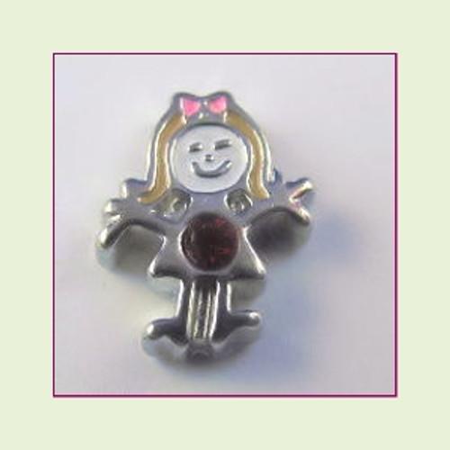 BS-07 July Silver Girl Birthstone Floating Charm