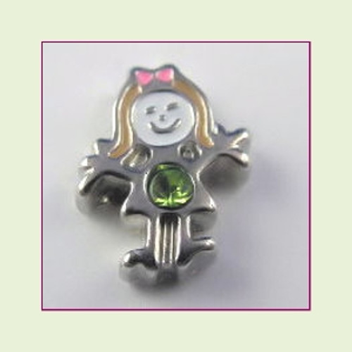 BS-08 August Silver Girl Birthstone Floating Charm