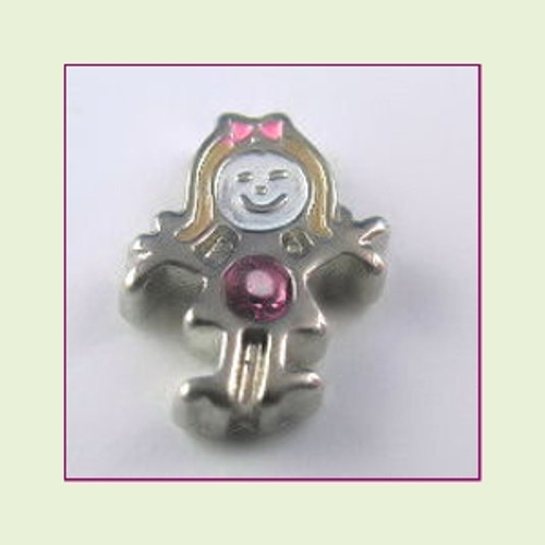 BS-10 October Silver Girl Birthstone Floating Charm