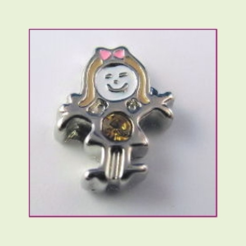 BS-11 November Silver Girl Birthstone Floating Charm
