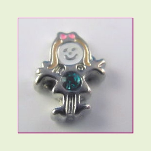 BS-12 December Silver Girl Birthstone Floating Charm