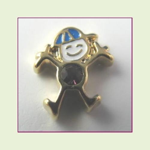 CG-02 February Gold Boy Birthstone Floating Charm
