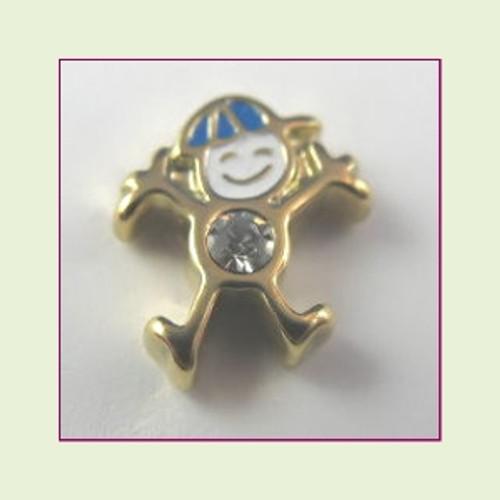 CG-04 April Gold Boy Birthstone Floating Charm