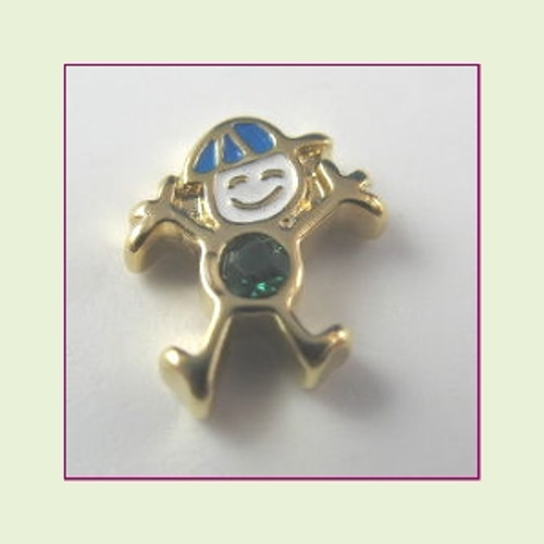 CG-05 May Gold Boy Birthstone Floating Charm