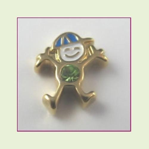 CG-08 August Gold Boy Birthstone Floating Charm