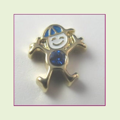 CG-09 September Gold Boy Birthstone Floating Charm