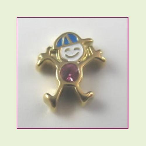 CG-10 October Gold Boy Birthstone Floating Charm