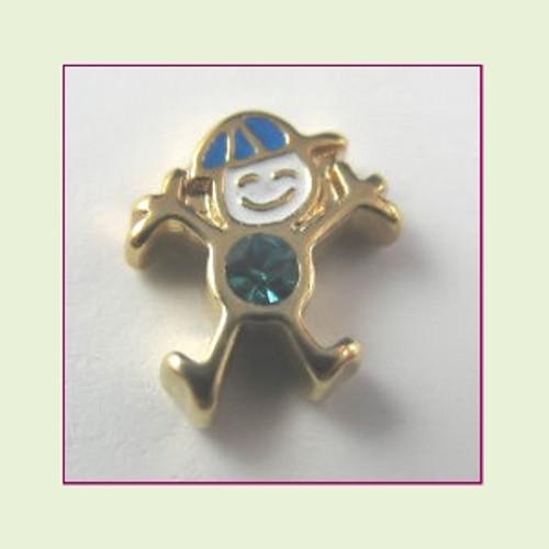 CG-12 December Gold Boy Birthstone Floating Charm