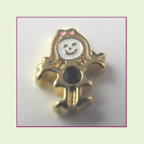 BG-01 January Gold Girl Birthstone Floating Charm