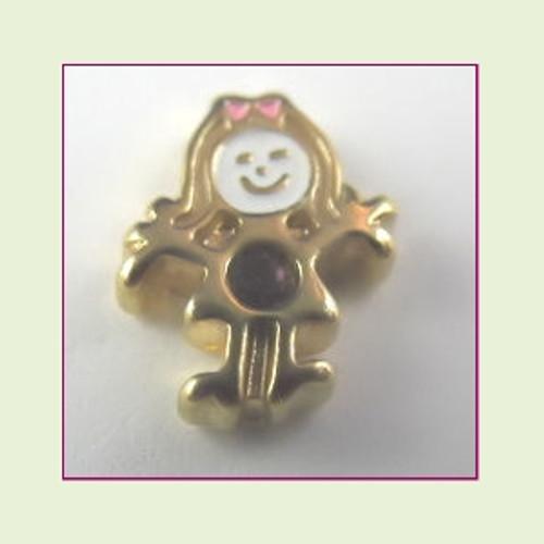 BG-02 February Gold Girl Birthstone Floating Charm