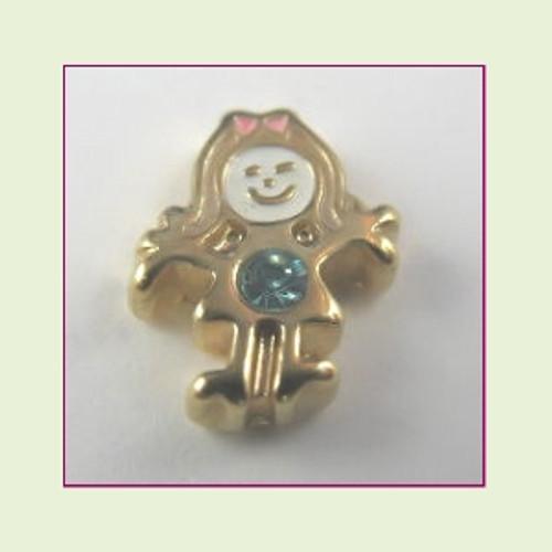BG-03 March Gold Girl Birthstone Floating Charm