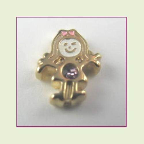 BG-06 June Gold Girl Birthstone Floating Charm