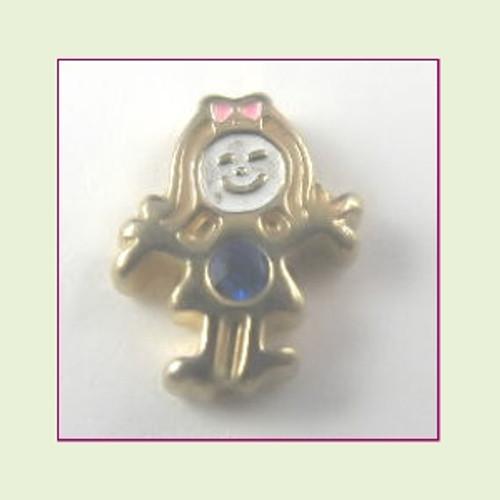 BG-09 September Gold Girl Birthstone Floating Charm