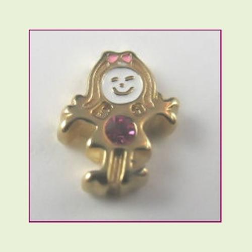 BG-10 October Gold Girl Birthstone Floating Charm