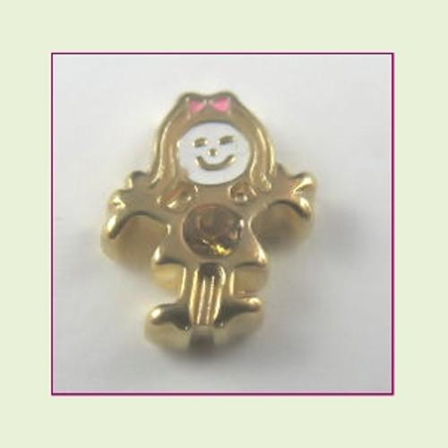 BG-11 November Gold Girl Birthstone Floating Charm