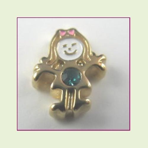 BG-12 December Gold Girl Birthstone Floating Charm